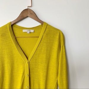LOFT- Chartreuse Button Down Cardigan
